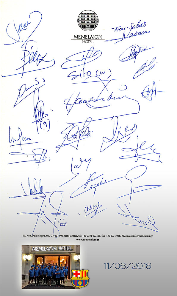 the signatures of barcelona's players