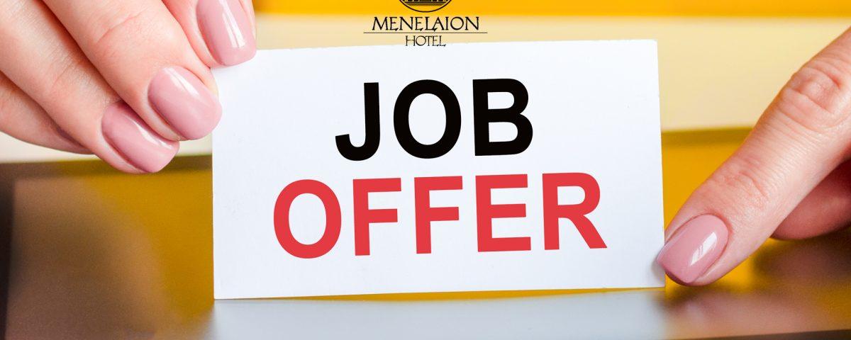 job offer hotel menelaion sparti